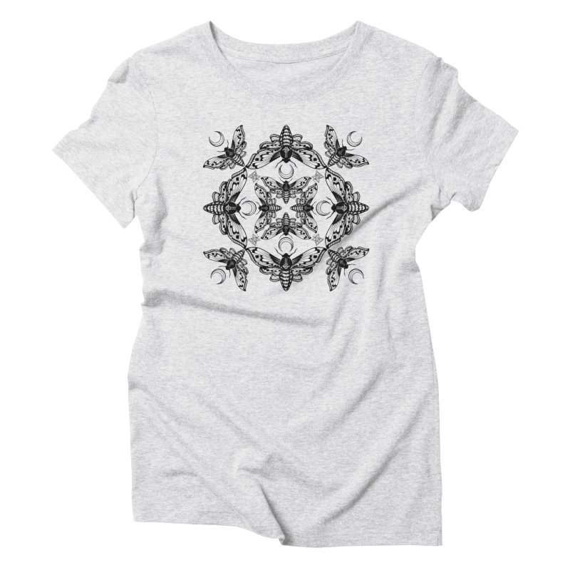 Ghost Cirice Moth Kaleidoscope Women's Triblend T-Shirt by ninthstreetdesign's Artist Shop