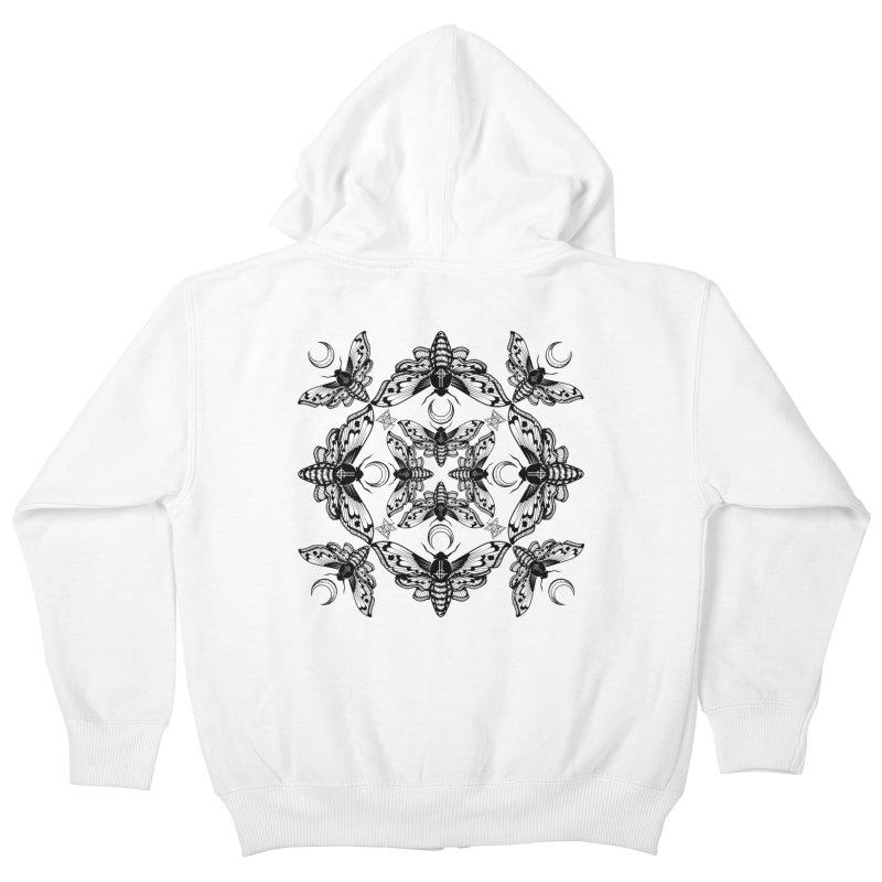 Ghost Cirice Moth Kaleidoscope Kids Zip-Up Hoody by ninthstreetdesign's Artist Shop