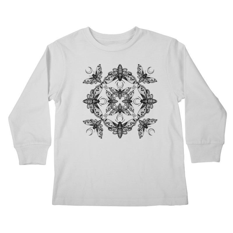 Ghost Cirice Moth Kaleidoscope Kids Longsleeve T-Shirt by ninthstreetdesign's Artist Shop