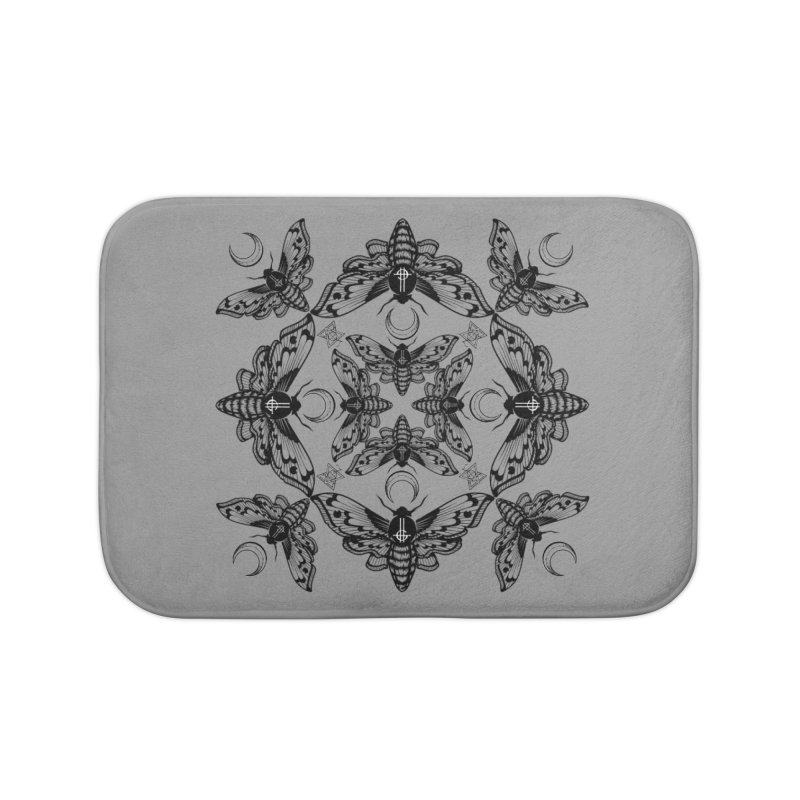 Ghost Cirice Moth Kaleidoscope Home Bath Mat by ninthstreetdesign's Artist Shop