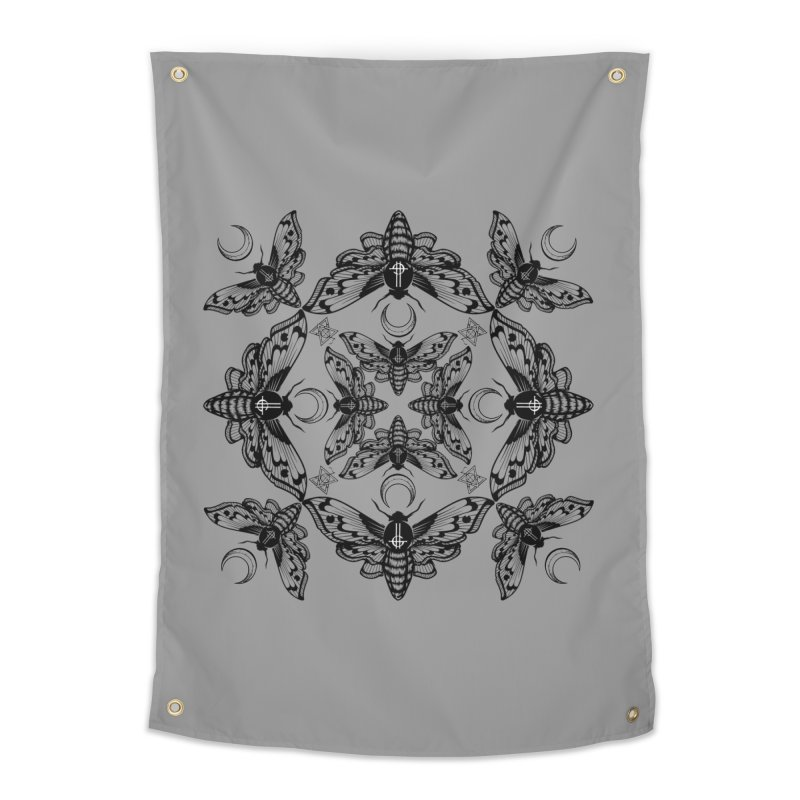 Ghost Cirice Moth Kaleidoscope Home Tapestry by ninthstreetdesign's Artist Shop