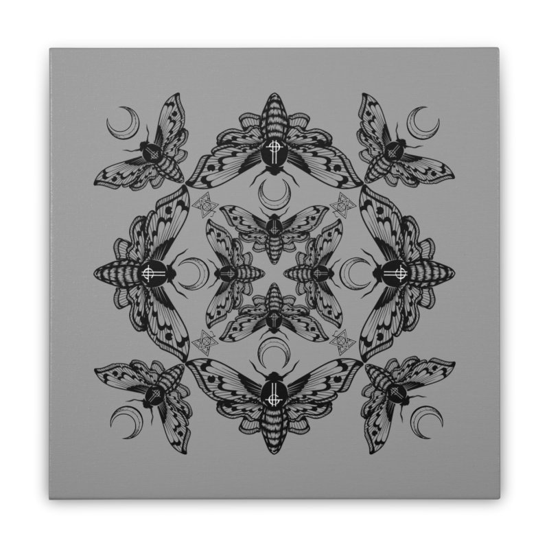 Ghost Cirice Moth Kaleidoscope Home Stretched Canvas by ninthstreetdesign's Artist Shop