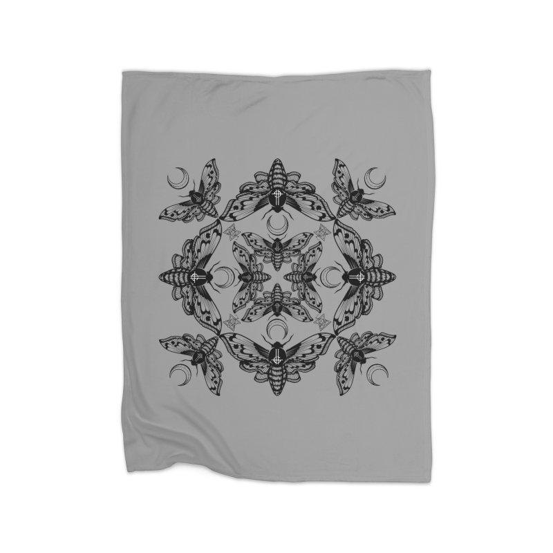 Ghost Cirice Moth Kaleidoscope Home Blanket by ninthstreetdesign's Artist Shop