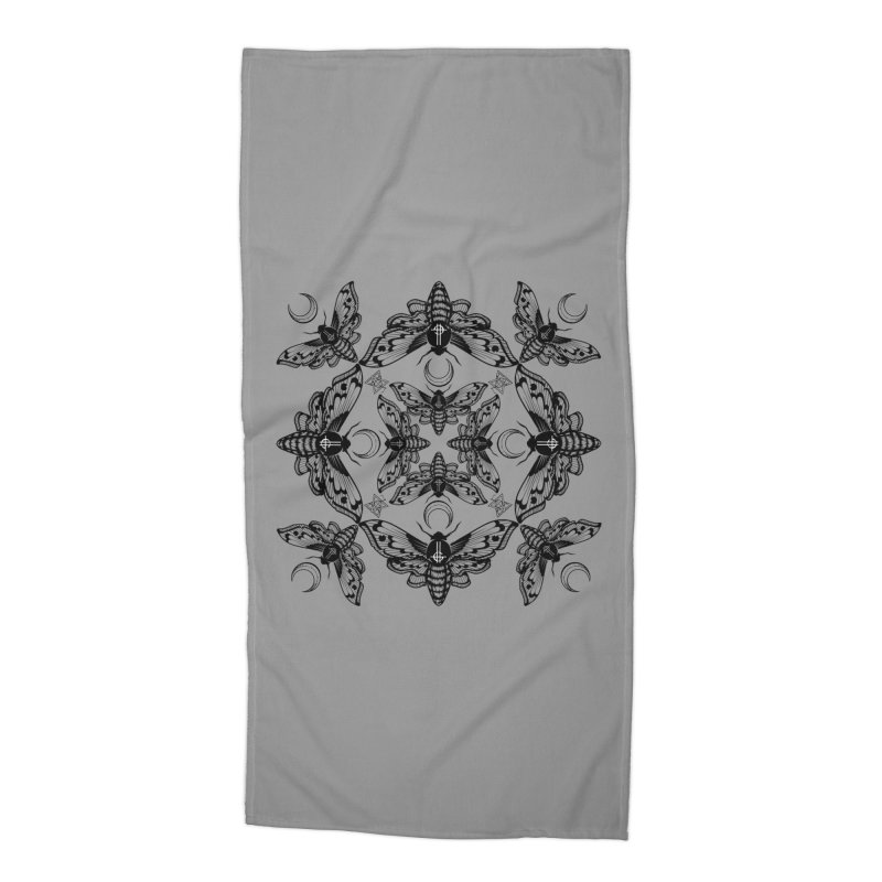 Ghost Cirice Moth Kaleidoscope Accessories Beach Towel by ninthstreetdesign's Artist Shop