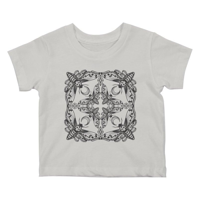 Death Head Moth Kaleidoscope Kids Baby T-Shirt by ninthstreetdesign's Artist Shop