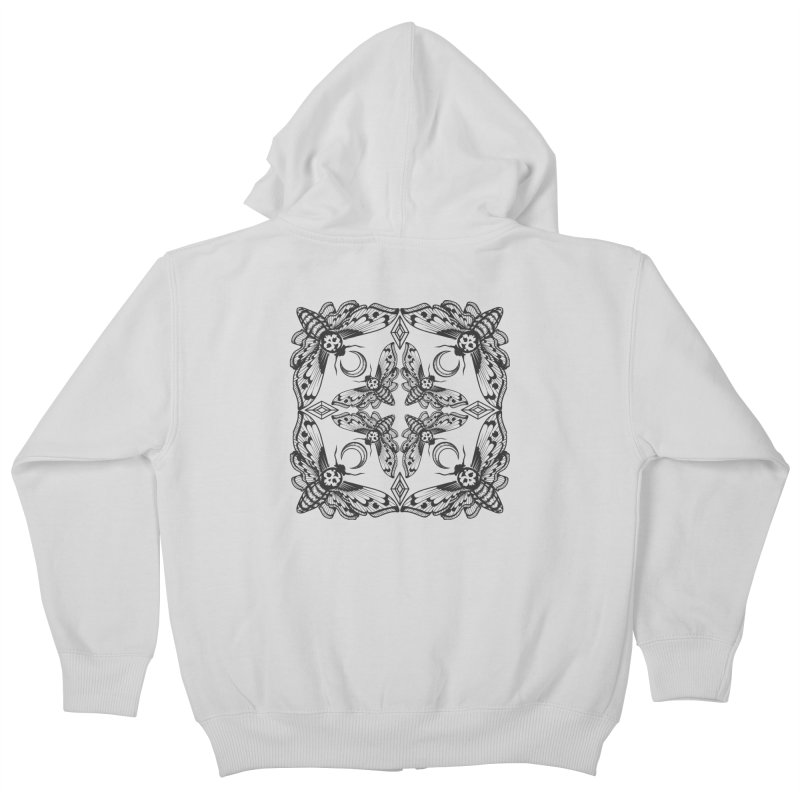 Death Head Moth Kaleidoscope Kids Zip-Up Hoody by ninthstreetdesign's Artist Shop