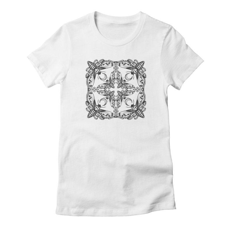 Death Head Moth Kaleidoscope Women's Fitted T-Shirt by ninthstreetdesign's Artist Shop