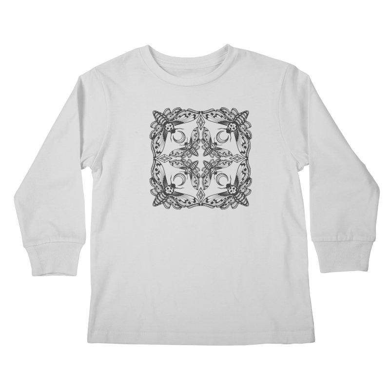 Death Head Moth Kaleidoscope Kids Longsleeve T-Shirt by ninthstreetdesign's Artist Shop