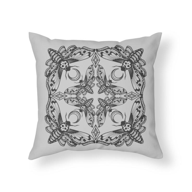 Death Head Moth Kaleidoscope Home Throw Pillow by ninthstreetdesign's Artist Shop