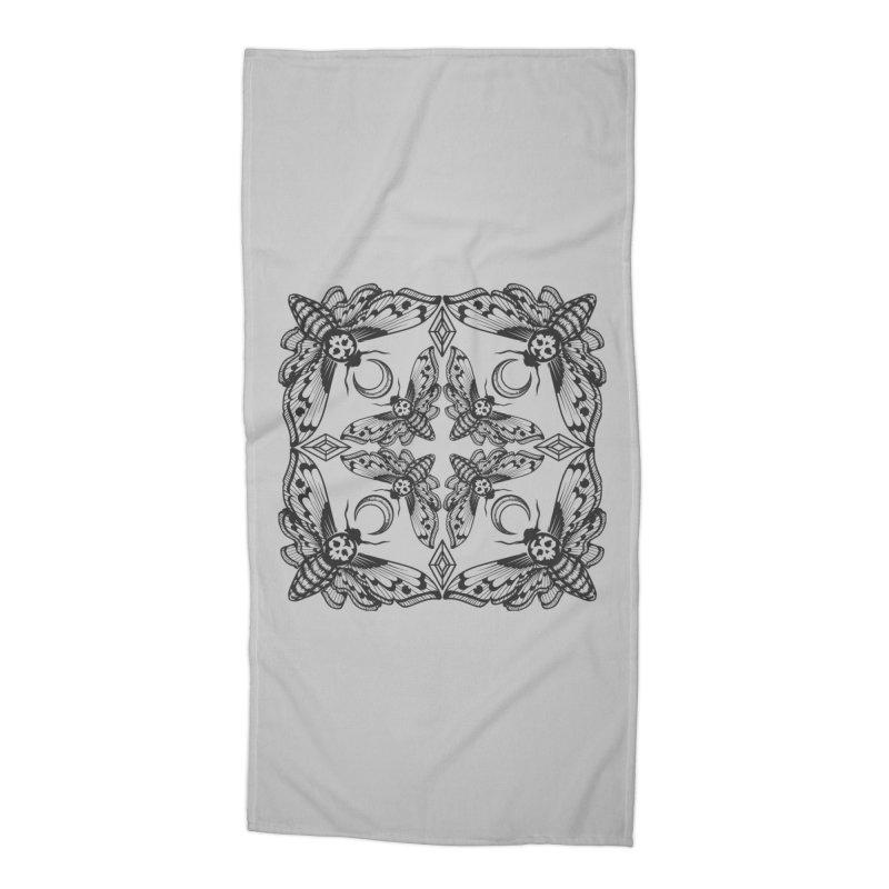 Death Head Moth Kaleidoscope Accessories Beach Towel by ninthstreetdesign's Artist Shop