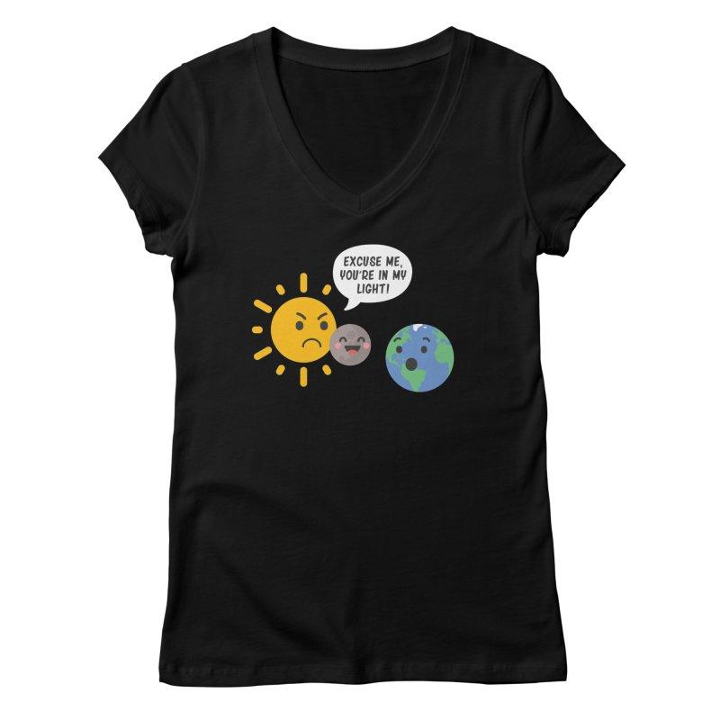 Solar Eclipse Women's V-Neck by ninthstreetdesign's Artist Shop