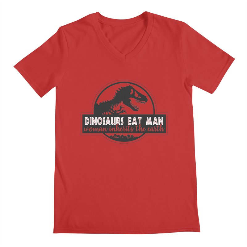 Dinosaurs eat man Men's Regular V-Neck by ninthstreetdesign's Artist Shop