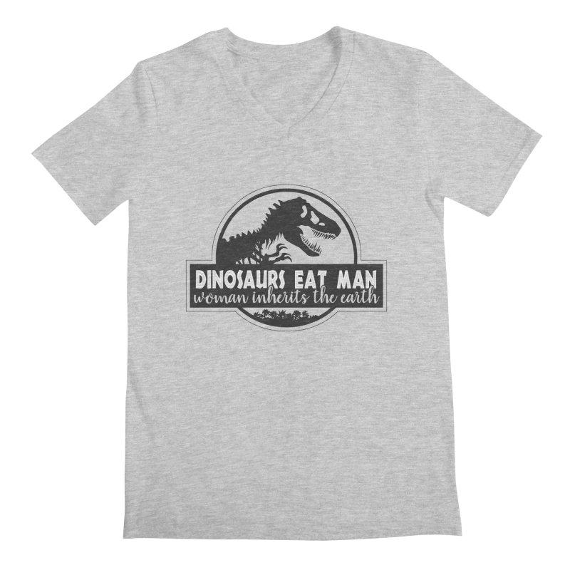Dinosaurs eat man Men's Regular V-Neck by Ninth Street Design's Artist Shop
