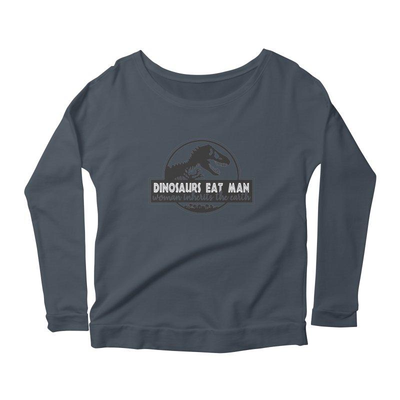 Dinosaurs eat man Women's Scoop Neck Longsleeve T-Shirt by ninthstreetdesign's Artist Shop
