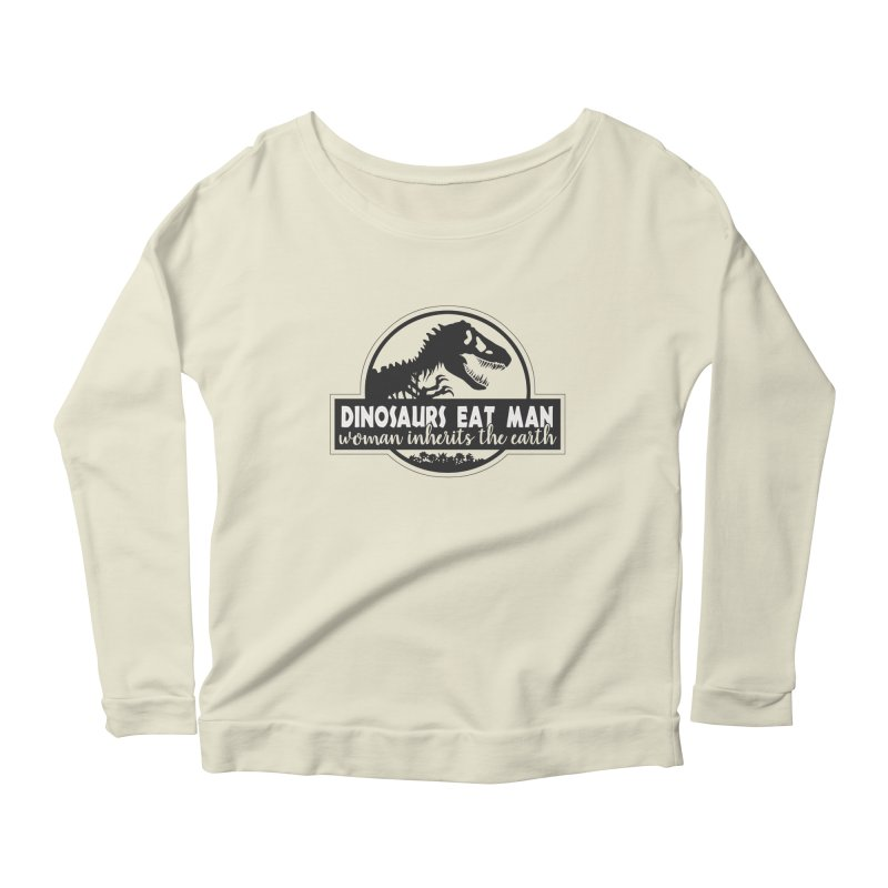 Dinosaurs eat man Women's Scoop Neck Longsleeve T-Shirt by ninthstreetdesign's Artist Shop