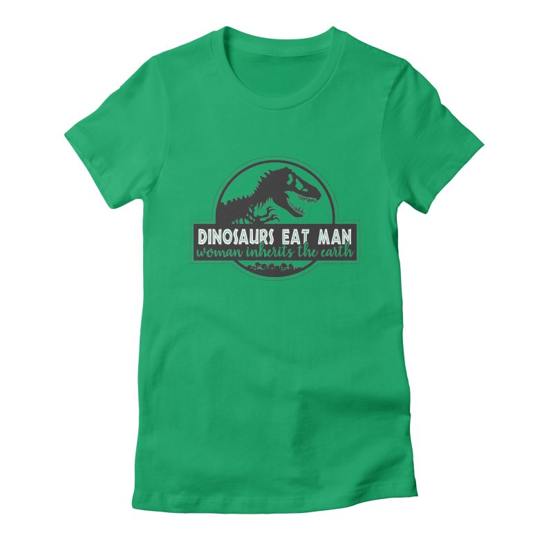 Dinosaurs eat man Women's Fitted T-Shirt by ninthstreetdesign's Artist Shop