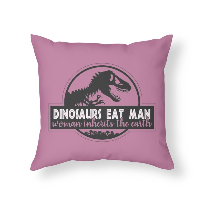 Dinosaurs eat man Home Throw Pillow by ninthstreetdesign's Artist Shop
