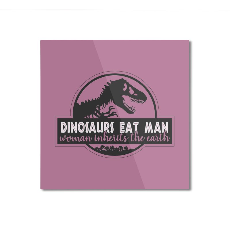 Dinosaurs eat man Home Mounted Aluminum Print by ninthstreetdesign's Artist Shop