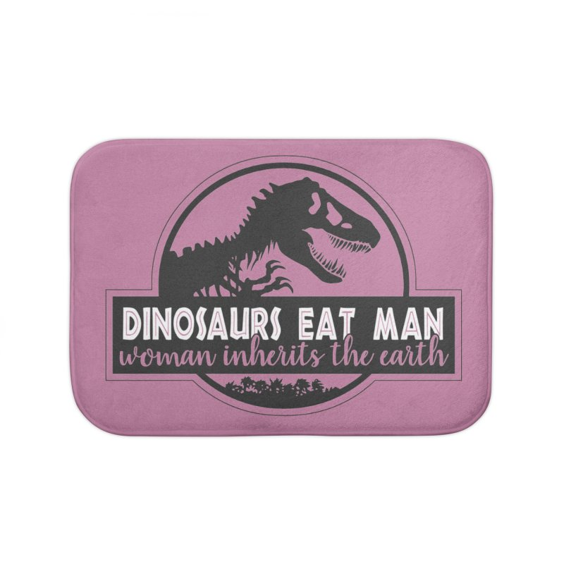 Dinosaurs eat man Home Bath Mat by ninthstreetdesign's Artist Shop