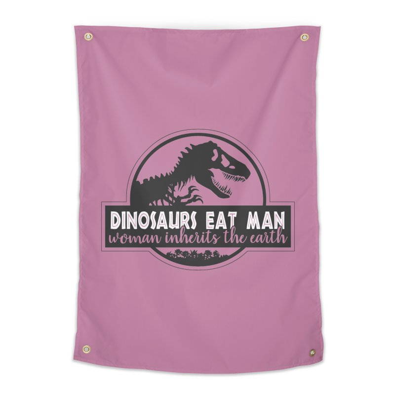 Dinosaurs eat man Home Tapestry by Ninth Street Design's Artist Shop