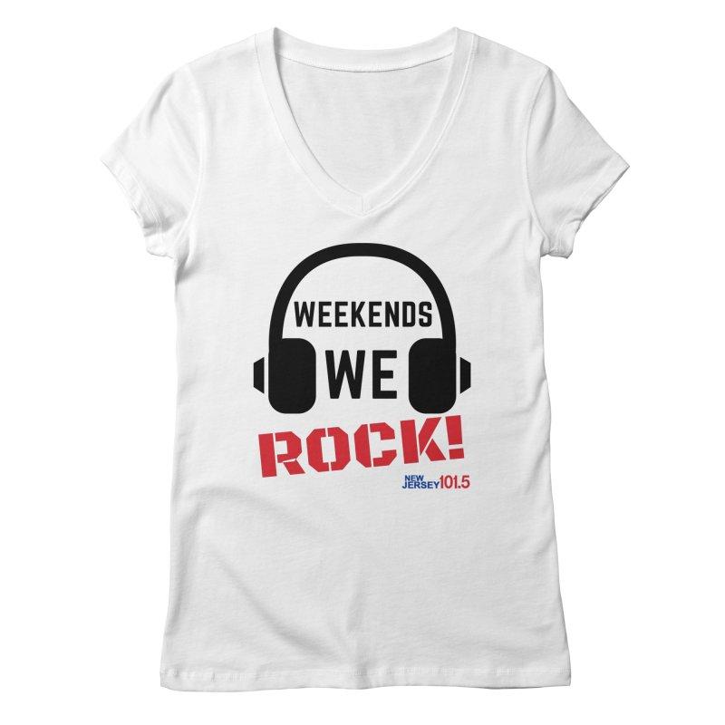 NJ101.5 Weekend Rock Women's V-Neck by NJ101.5's Artist Shop