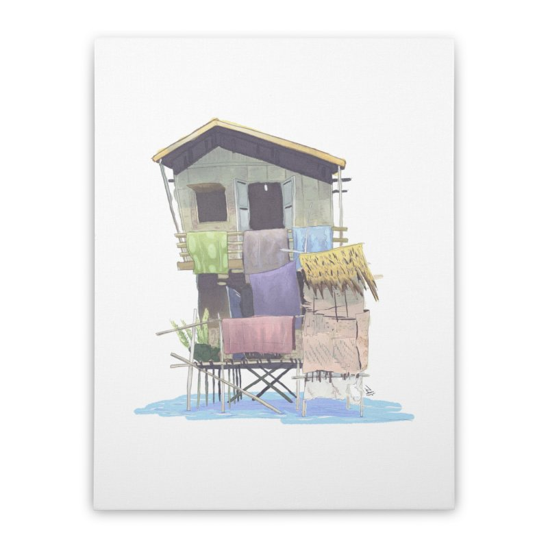Lake House Home Stretched Canvas by NK Artbox