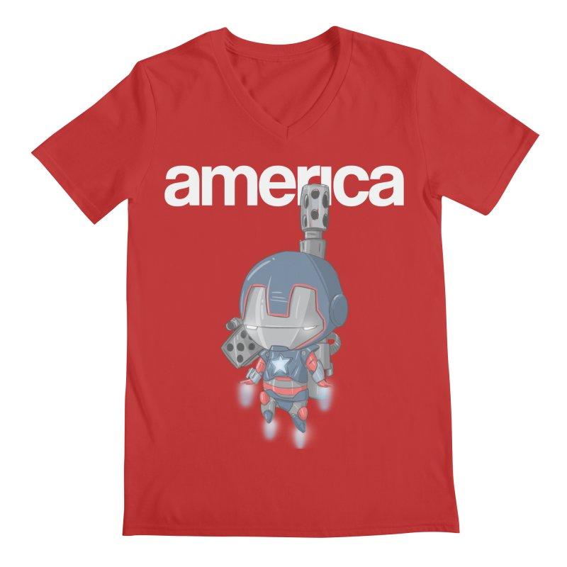 Iron Patriot Cheeb Men's V-Neck by noaheisenman's Shop