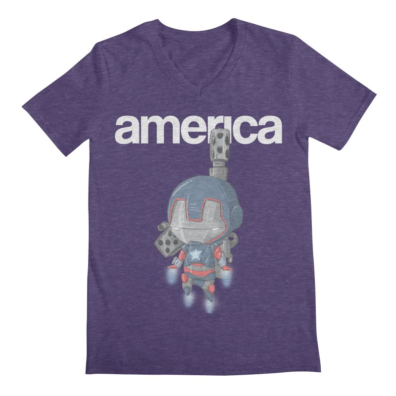 Iron Patriot Cheeb Men's V-Neck by noaheisenman's Shop