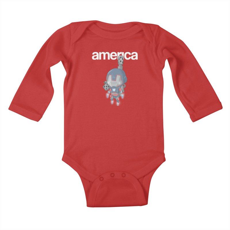 Iron Patriot Cheeb Kids Baby Longsleeve Bodysuit by noaheisenman's Shop