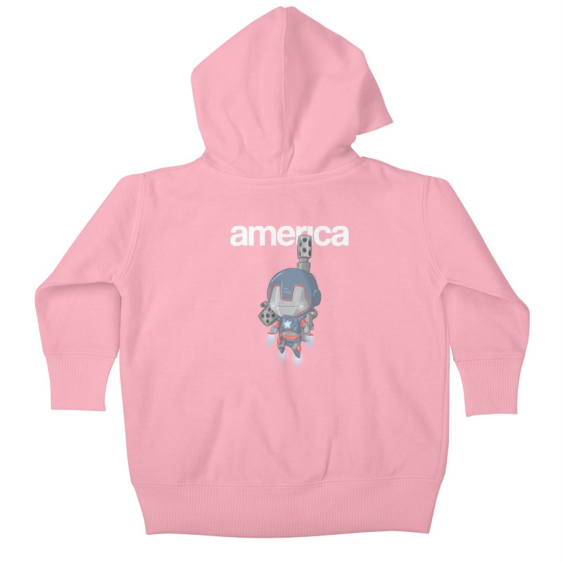 Iron Patriot Cheeb Kids Baby Zip-Up Hoody by noaheisenman's Shop