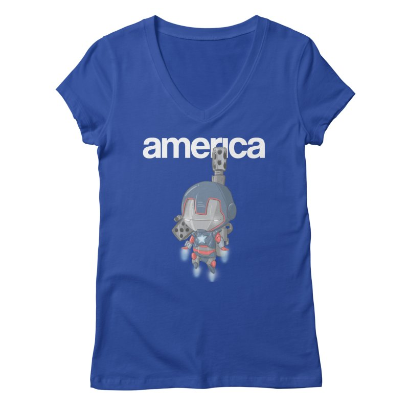Iron Patriot Cheeb Women's V-Neck by noaheisenman's Shop