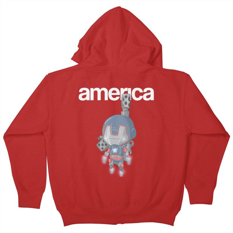 Iron Patriot Cheeb Kids Zip-Up Hoody by noaheisenman's Shop