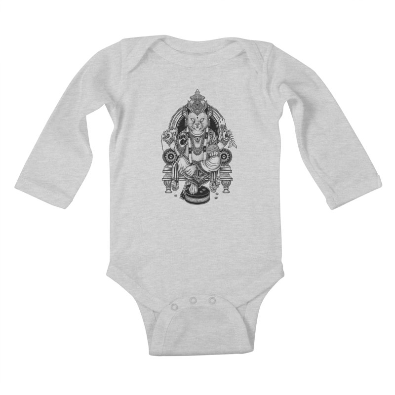 Cat Guru Deva Om Kids Baby Longsleeve Bodysuit by Michele_Nolli's Artist Shop