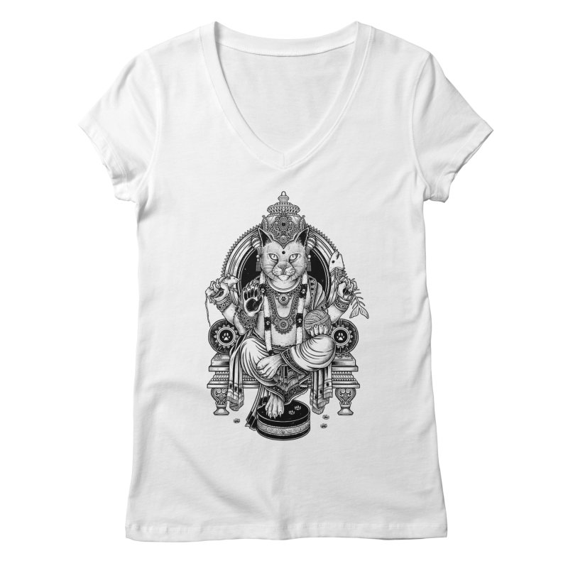 Cat Guru Deva Om Women's V-Neck by Michele_Nolli's Artist Shop