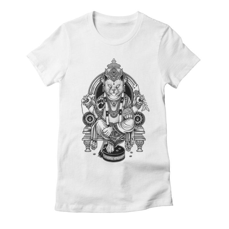 Cat Guru Deva Om Women's Fitted T-Shirt by Michele_Nolli's Artist Shop
