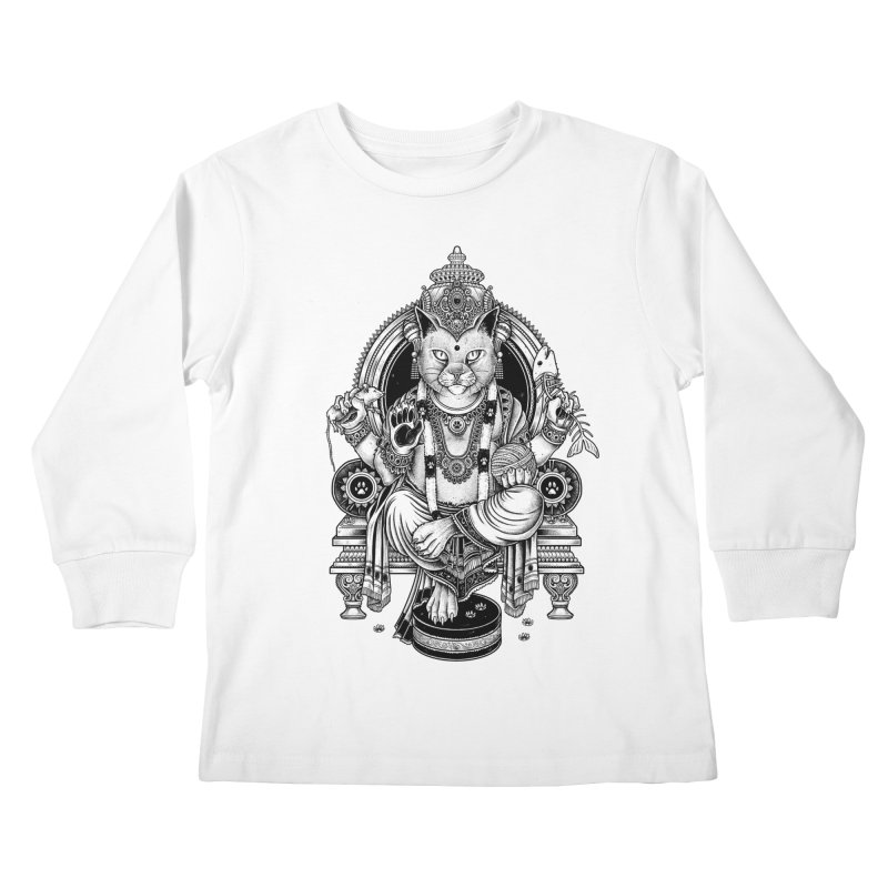 Cat Guru Deva Om Kids Longsleeve T-Shirt by Michele_Nolli's Artist Shop