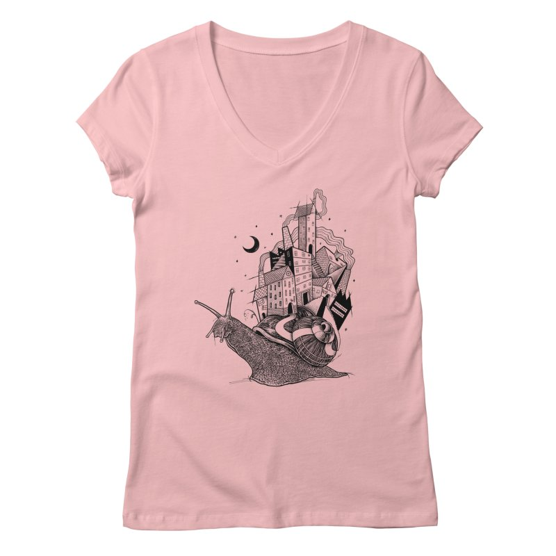 Slow Night And Imaginary Lights Women's V-Neck by Michele_Nolli's Artist Shop
