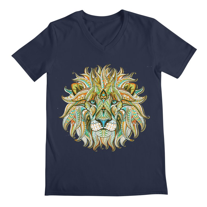 Lionometry Men's Regular V-Neck by Noir Designs