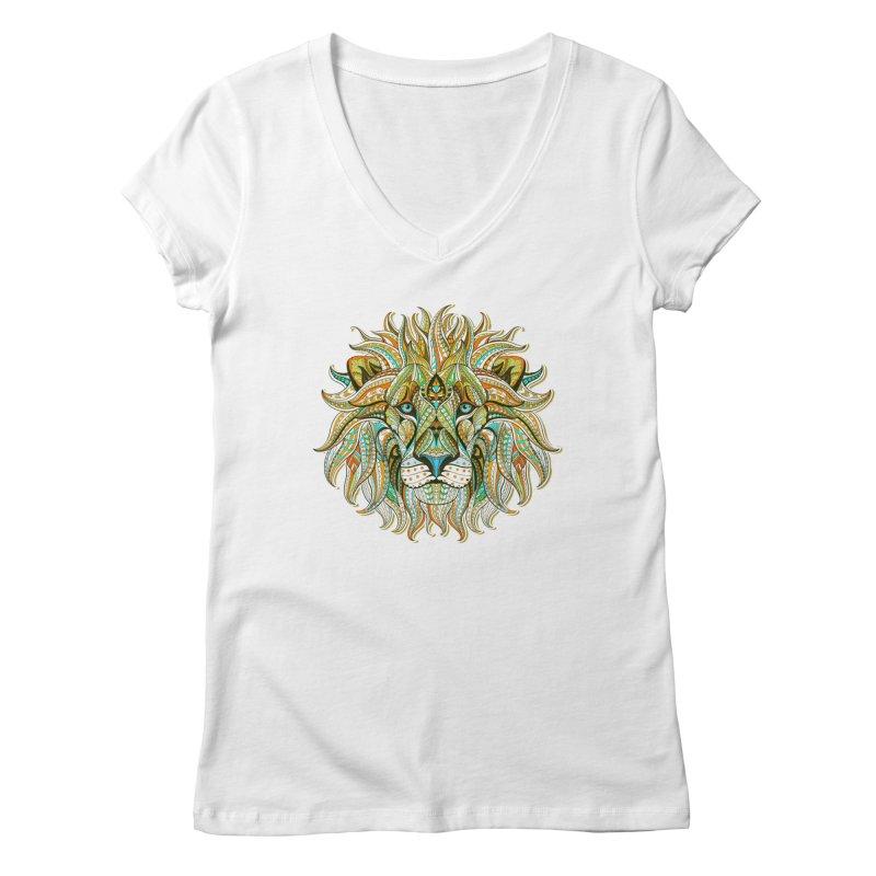 Lionometry Women's Regular V-Neck by Noir Designs