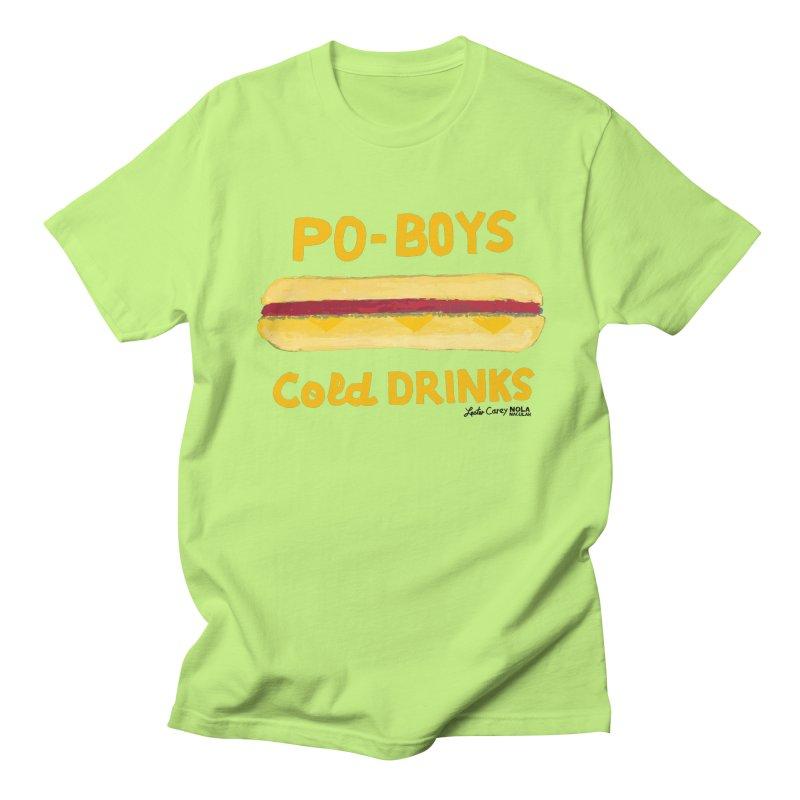 NOLA 'Nacular Poboys Cold Drinks sign Lester Carey t-shirt Men's T-Shirt by NOLA 'Nacular's Shop