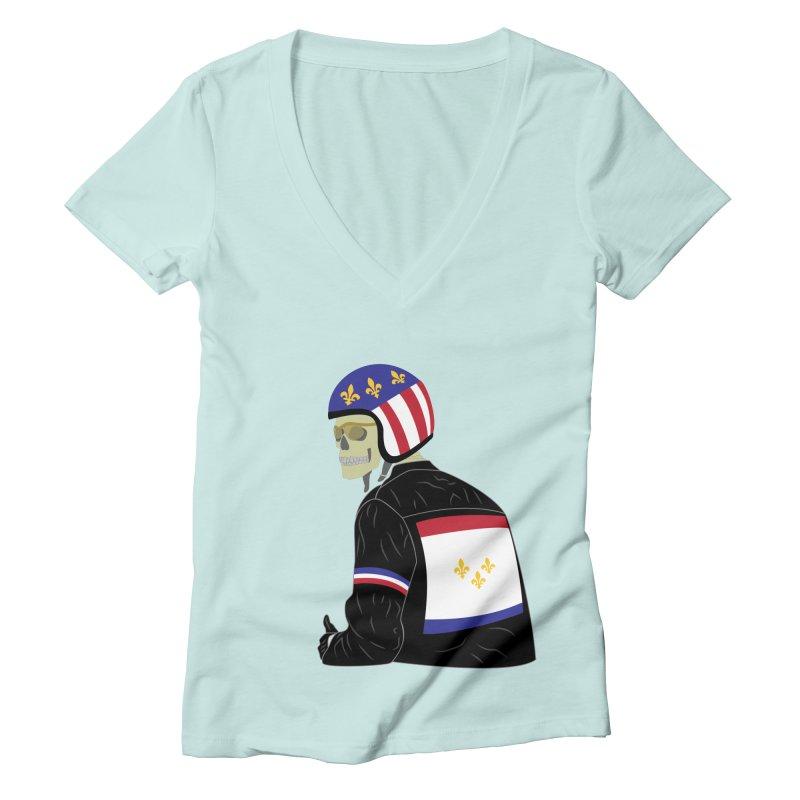 Big Easy Rider Women's Deep V-Neck V-Neck by NOLA 'Nacular's Shop