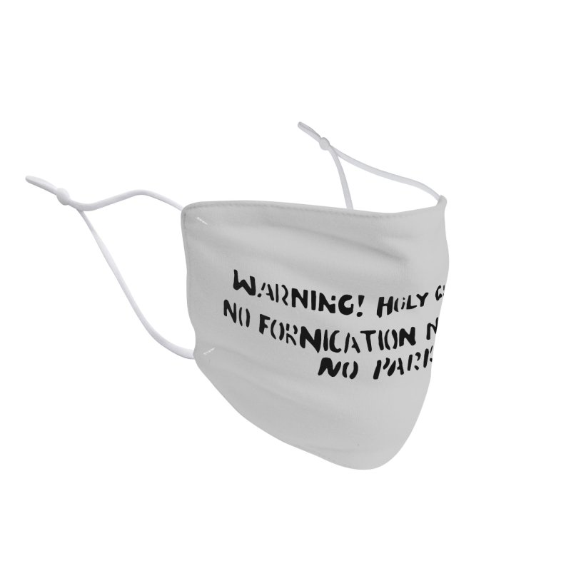 WARNING! HOLY GROUND (black print) Accessories Face Mask by NOLA 'Nacular's Shop