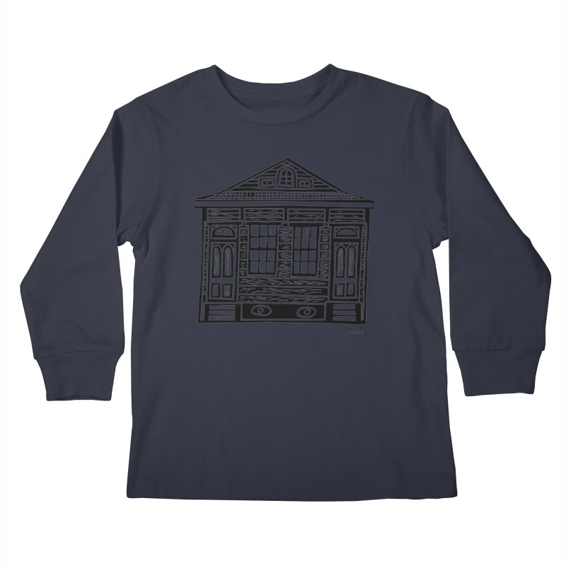 Four Bay Shot Gun in black Kids Longsleeve T-Shirt by NOLA 'Nacular's Shop