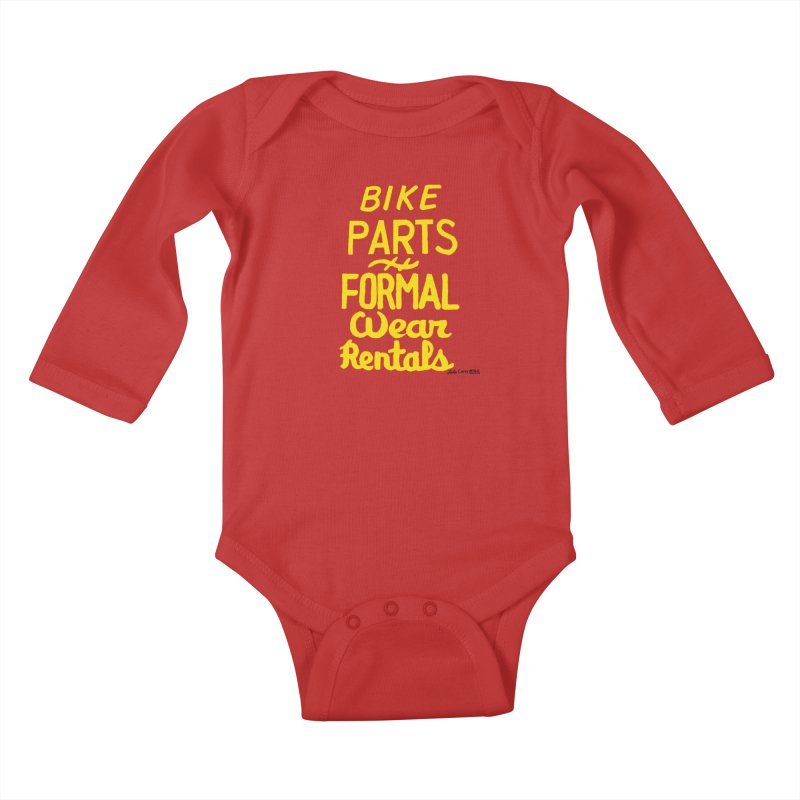 NOLA 'Nacular Bike Parts Formal Wear Rentals hand-painted sign by Lester Carey Kids Baby Longsleeve Bodysuit by NOLA 'Nacular's Shop