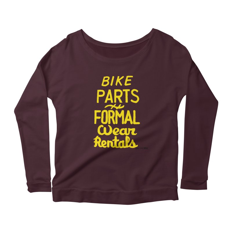 NOLA 'Nacular Bike Parts Formal Wear Rentals hand-painted sign by Lester Carey Women's Scoop Neck Longsleeve T-Shirt by NOLA 'Nacular's Shop