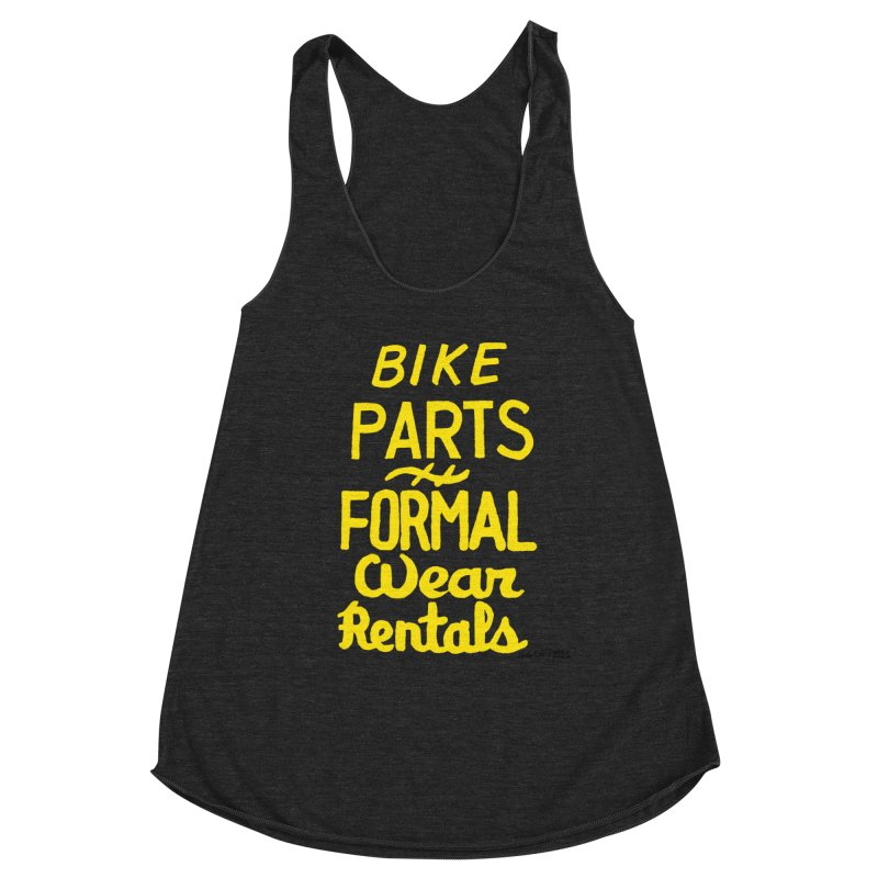 NOLA 'Nacular Bike Parts Formal Wear Rentals hand-painted sign by Lester Carey Women's Racerback Triblend Tank by NOLA 'Nacular's Shop