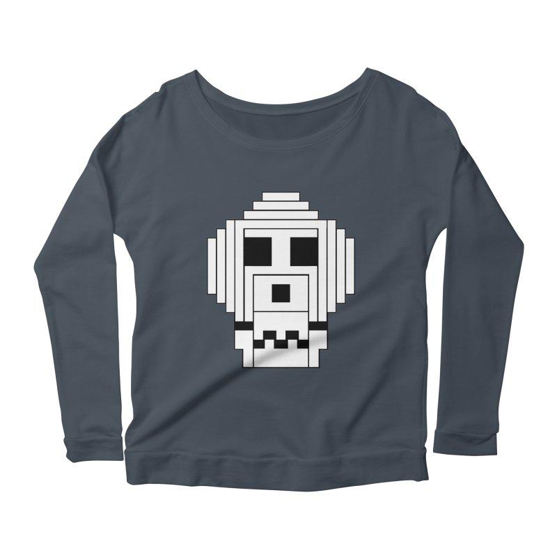 8 Bit Skull Women's Scoop Neck Longsleeve T-Shirt by NOLA 'Nacular's Shop