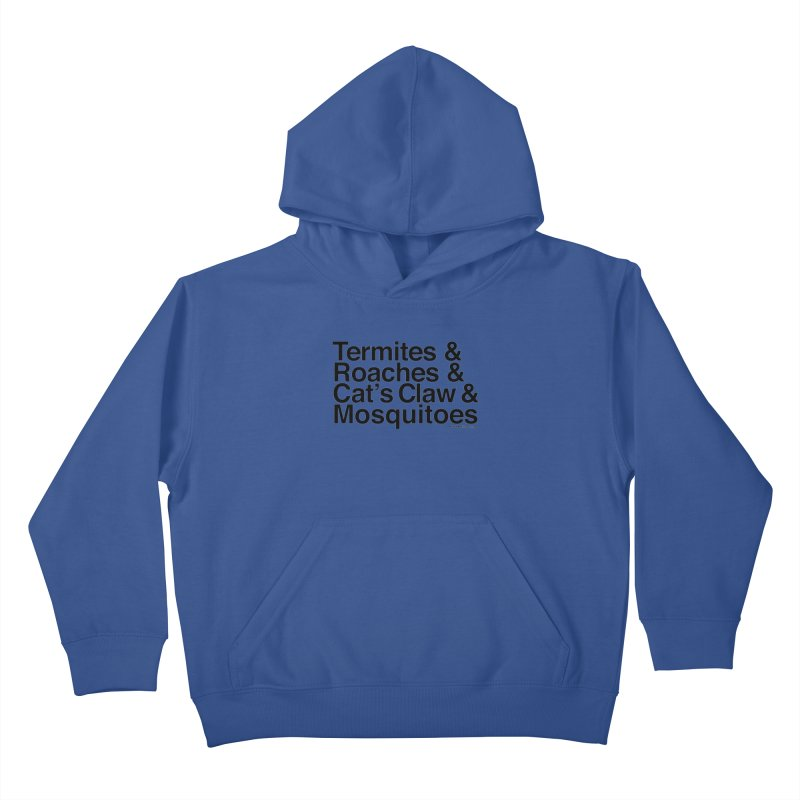 Pest and Invaders (black print) Kids Pullover Hoody by NOLA 'Nacular's Shop