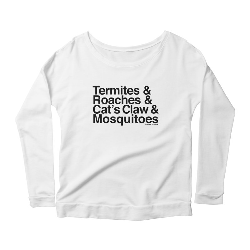 Pest and Invaders (black print) Women's Scoop Neck Longsleeve T-Shirt by NOLA 'Nacular's Shop