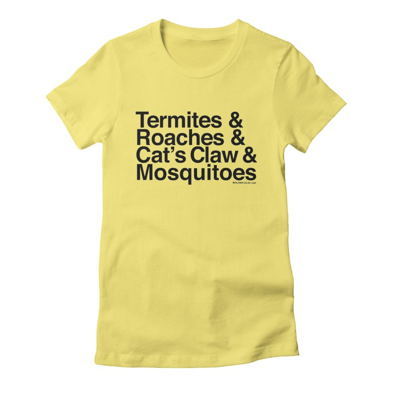 Pest and Invaders (black print) Women's Fitted T-Shirt by NOLA 'Nacular's Shop